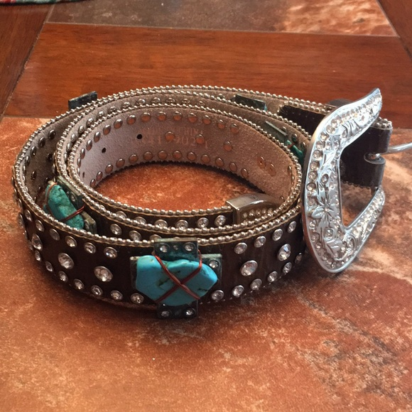 Silver /& Turquoise CROSS Buckle ~NOCONA Brown Leather Western BELT~ COWGIRL